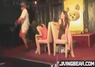 gal at night club gone wild gag on pipe