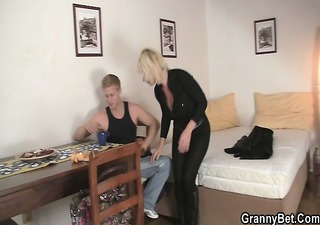 old blond rides her neighbour large cock